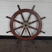 19th/20th Century Wooden Ships Wheel