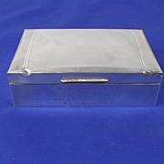 Silver Cigarette Box - Birmingham 1949 - With Engine Turning HMS Shackleton