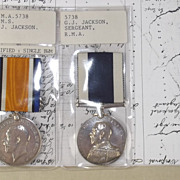 WW1 Royal Marine Artillery LSGC Pair of Medals Awarded To G.J. Jackson With Paperwork