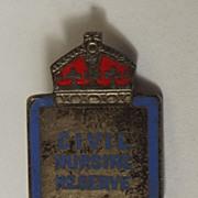 WWII Sterling Silver & Enamel Civil Nursing Reserve Badge
