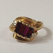 Unusual 14 Ct Gold & 0.48 CTW Ruby Ring, UK Size L 1/2, US 6