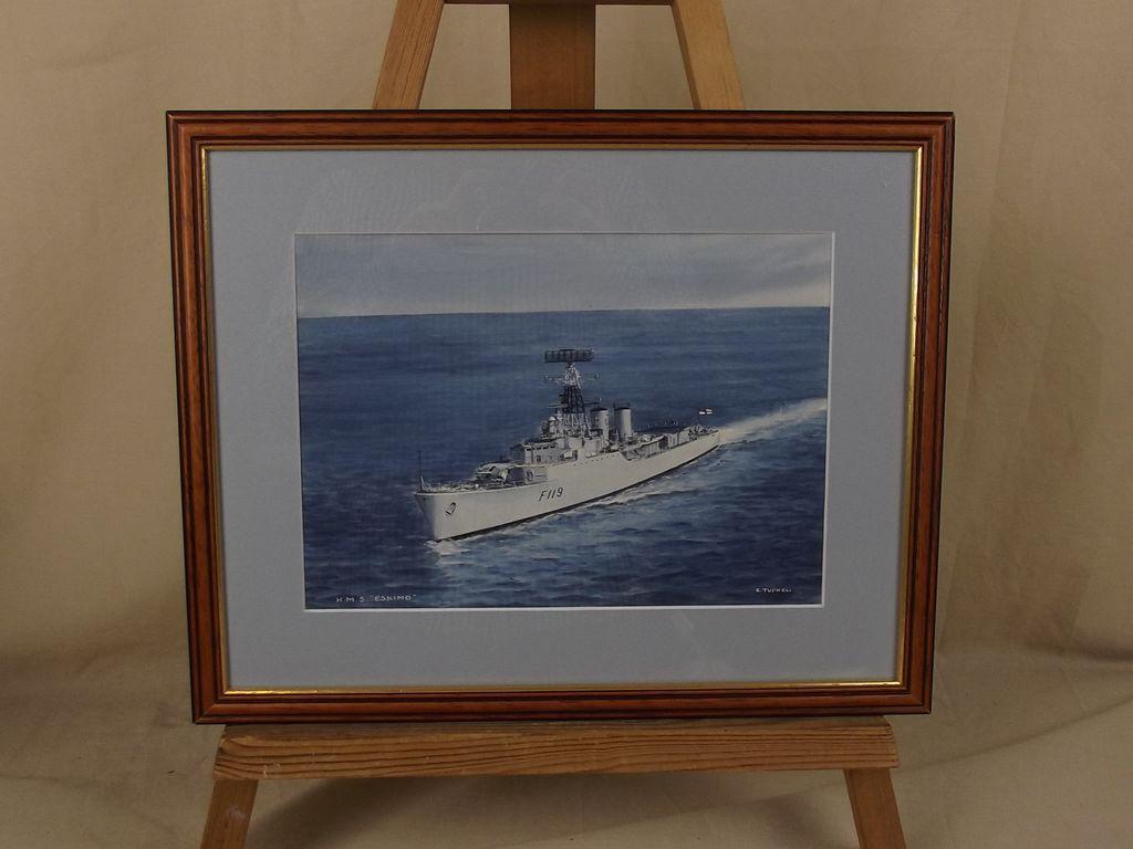HMS Eskimo F119 Tribal Class Frigate Watercolour By  Eric Erskine Tufnell (1888-1978)