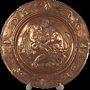 Georgian Hercules & Lion Gilded Pewter Plaque