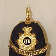 Victorian 81st Loyal Lincoln Volunteers Regiment Officer's Black Cloth Helmet 1878-1881