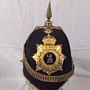 Edwardian Norfolk Regiment Spiked Black Cloth Helmet