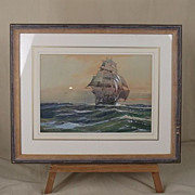 Fine 1949 Dated Wilfred Knox (1884-1966) Watercolour Of A Clipper Ship