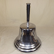 A Large Silvered &  Polished Bronze Bell Hand Bell HMNB Devonport (?)