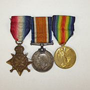 British WW1 1914 Medal Trio Pte. D. Clarson South Staffordshire Reg.