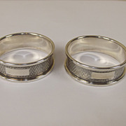 Pair of Sterling Silver Engine Turned Napkin Rings, Hallmarked B-ham 1959, 20.7 g