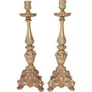 Pair Of Victorian 1895 Royal Worcester Renaissance Style Candlesticks