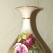 Royal Worcester Vase With Roses Signed By William Hart