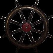 Large Wooden Eight Spoke Ships Wheel Circa 1900