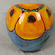 Large Poole Pottery Wild Poppy Design Wall Pocket Vase