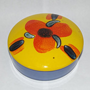 Poole Pottery Flower Pattern Blue-Yellow Trinket Box With Cover