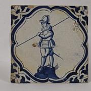 17th Century Pike Man Dutch Delft Tile