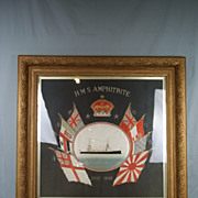 Protected Cruiser HMS Amphitrite Large Framed Chinese Silk Work Dated 1902-1905