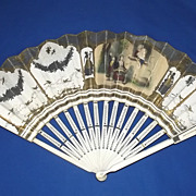 A Large Antique Paper & Hand Carved Cow Bone Fan From France