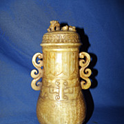 Eastern Zhou Style Chinese Nephrite Jade Vase With Cover