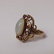 14 Ct Gold & Opal Large Filigree Cocktail Ring, UK Size M 1/2, US 6.5