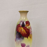 Royal Worcester Small Bud Vase With Autumn Leaves & Berries Signed by Kitty Blake