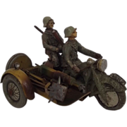 Pre-War Elastolin WH 591 Motorcycle & Machine Gun Sidecar