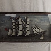 Victorian Cased Diorama Of A Clipper Ship