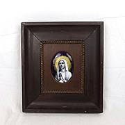 Signed Circa 1900 Limoges Enamel Portrait Of The Madonna