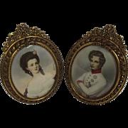 Pair Of 19th Century Oval Portrait Miniatures Of Napoleon II Bonaparte & Lady