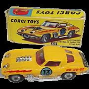 Boxed Corgi 337 Customized Chevrolet Corvette Sting Ray In Yellow