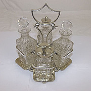 Circa 1910 Silver Plated & Cut Glass Condiment