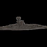 Circa WW2 Lead Battleship Made On Board