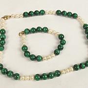 Malachite Bead & Pearl 9ct Gold Necklace & Bracelet Set