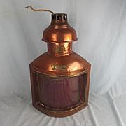 Ships Copper Port Side Lantern By J.W. Blake & Sons Of Gosport