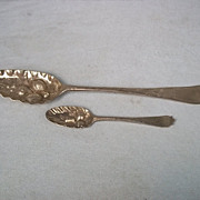 Pair Of George II London 1736 Hallmarked Silver Berry Spoons