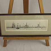 Portsmouth Dockyard (Old & New) – Original Drypoint Etching By Rowland Langmaid