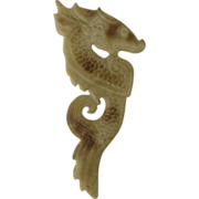 Large Chinese White Jade Carved Seahorse