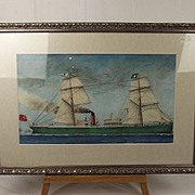 Italian School Circa 1870 Watercolour Steam Yacht In Neapolitan Waters