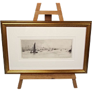 """""""Portsmouth"""" Etching, c1930's, By Frank Harding (Signed)"""