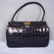Vintage 1940's Black Crocodile Handbag by KERJ