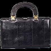Vintage 1950's Black Leather Python Handbag by Ackery, London