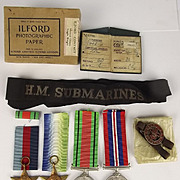 WW2 Submariners Atlantic Star Medal Group With Related Items Inc. Cap Tally