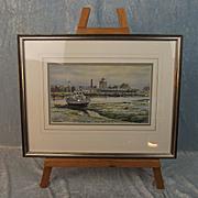 Colin Baxter Watercolour Of Haslar Creek, Mud Sun & Gunboat Sheds