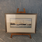 Colin Baxter Watercolour of HMY Victoria & Albert III Entering Portsmouth Harbour c1920