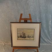 Colin Baxter Watercolour Of 1910 Schooners Airing Sails