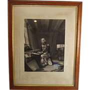 Framed Engraving Of Lord Nelson At Prayer 1854 Engraved By  F. Joubert