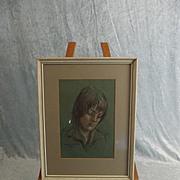 Aileen Wyllie (Daughter Of W.L. Wyllie) Framed Pastel Of A Girls Portrait 1976
