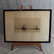 Harold Wyllie (1880-1975) Etching Of A Liner Off The Coast With Biplanes Overhead