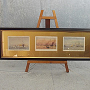 Framed Set Of Three Original Chromolithographic Plates By W. L. Wyllie 1918