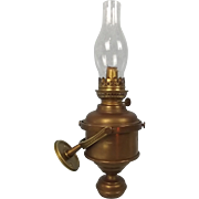 Nautical Brass Gimballed Wall Oil Lamp