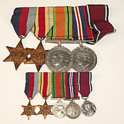 A WW2 Medal Set And Miniatures ~